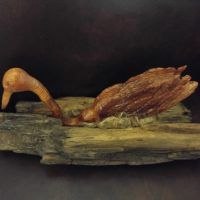 Woodworking art - Egret in Nest - by Gail Cavalier