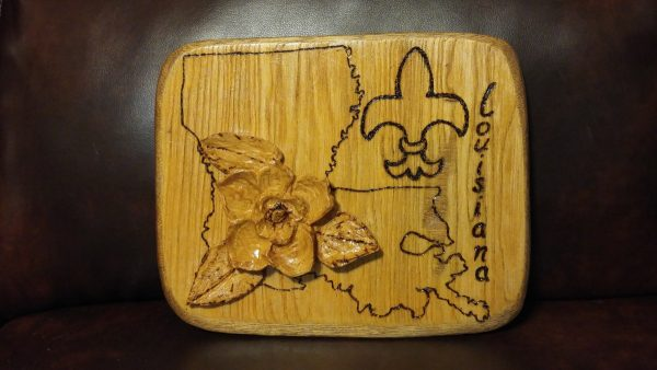 Woodworking Art - Louisiana Plaque - by Gail Cavalier