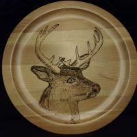 Deer on round plate