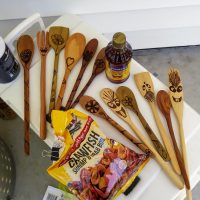 Hand-made wooden spoons and spatulas