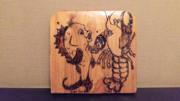 Dancing Fish and Crawfish cypress plaque